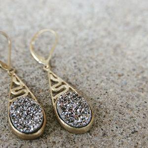 Matte Gold & Silver Druzy Drop Snake Earrings